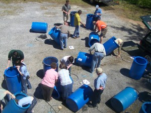 plastic drums into rain barrels